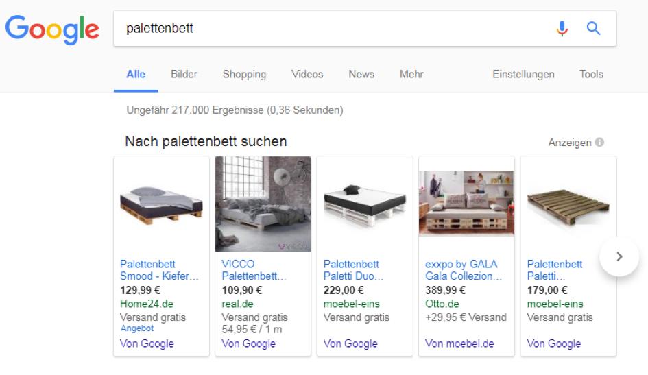 einrichten und wohnen ag was ist google shopping und welche chancen ergeben sich. Black Bedroom Furniture Sets. Home Design Ideas